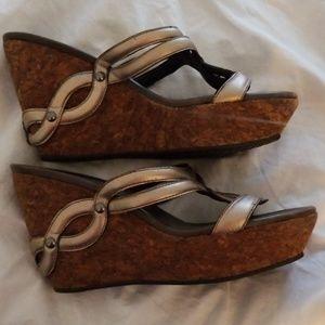 Cole Haan Bronze Leather Cork Wedge Sandal